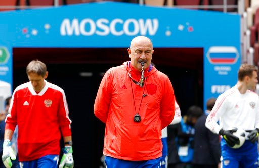 (AP Photo/Antonio Calanni). Russia coach Stanislav Cherchesov arrives at the official training session of the Russian team one the eve of the group A match between Russia and Saudi Arabia at the 2018 soccer World Cup at Luzhniki stadium in Moscow, Russ...