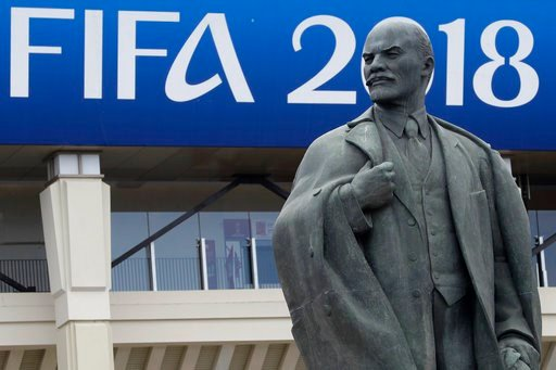 (AP Photo/Matthias Schrader). A statue of Lenin stands outside the stadium after the official training session of the Russian team one the eve of the group A match between Russia and Saudi Arabia at the 2018 soccer World Cup at Luzhniki stadium in Mosc...