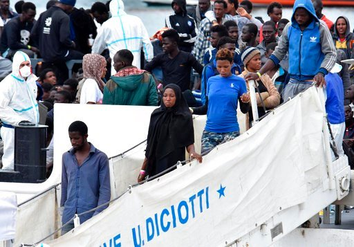 "(Orietta Scardino/ANSA via AP). Migrants disembark from Italian Coast Guard vessell ""Diciotti"" at the Sicilian port of Catania, southern Italy, Wednesday, June 13, 2018. The vessel docked in Catania with 932 migrants aboard in a sign that Italy under t..."