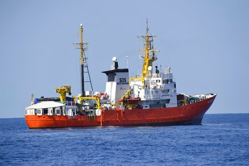 "(AP Photo/Salvatore Cavalli). The French NGO ""SOS Mediterranee"" Aquarius ship is seen in the Mediterranean Sea, Tuesday, June 12, 2018. Italy dispatched two ships Tuesday to help take 629 migrants stuck off its shores on the days-long voyage to Spain i..."
