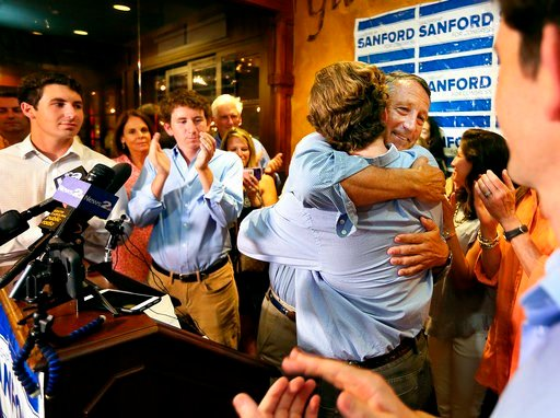 (Wade Spees/The Post And Courier via AP). U.S. Rep. Mark Sanford hugged his sons after addressing his supporters at Liberty Tap Room in Mount Pleasant, S.C., Tuesday, June 12, 2018. Sanford lost his first election ever Tuesday, beaten for the Republica...