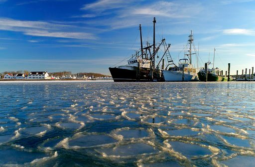 (AP Photo/Julie Jacobson). Surrounded by ice, commercial fishing boats are docked in their slips after more than a week's worth of frigid weather froze the harbor in Lake Montauk in Montauk, N.Y., on Sunday, Jan. 7, 2018. Only a few commercial boats re...