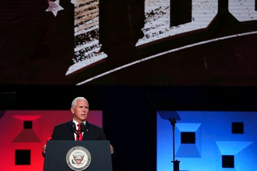 (Andy Jacobsohn/The Dallas Morning News via AP). Vice president Mike Pence speaks at the annual meeting of The Southern Baptist Convention at the Kay Bailey Hutchison Convention Center in Dallas Wednesday, June 13, 2018.