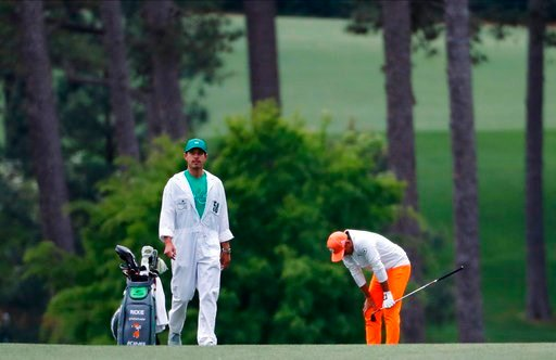 (AP Photo/David Goldman, File). FILE - In this April 8, 2018, file photo, Rickie Fowler reacts to a shot on the 17th hole during the fourth round at the Masters golf tournament in Augusta, Ga. Majors have not been kind to Fowler. In April, he came up o...