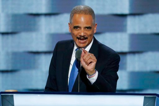(AP Photo/J. Scott Applewhite, File). FILE - In this July 26, 2016 file photo, former Attorney General Eric Holder speaks during the second day of the Democratic National Convention in Philadelphia. The National Redistricting Foundation, a nonprofit af...