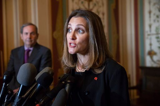(AP Photo/J. Scott Applewhite). Canadian Minister of Foreign Affairs Chrystia Freeland speaks with reporters after meeting with the U.S. Senate Foreign Relations Committee at the Capitol in Washington, Wednesday, June 13, 2018. Freeland's visit comes a...
