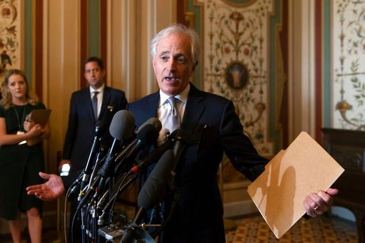 (AP Photo/J. Scott Applewhite). Senate Foreign Relations Committee Chairman Bob Corker, R-Tenn., speaks to reporters after meeting with Canada's Minister of Foreign Affairs Chrystia Freeland on Capitol Hill in Washington, Wednesday, June 13, 2018. The ...