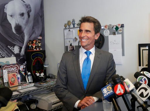 (AP Photo/Jeff Chiu, File). File - In this June 6, 2018 file photo, former state Sen. Mark Leno speaks to reporters in San Francisco. San Francisco mayoral candidate Leno is scheduled to make remarks about the election as the latest results show London...