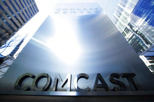 (AP Photo/Matt Rourke, File). FILE - This March 29, 2017, file photo shows a sign outside the Comcast Center in Philadelphia.  The potential for another media megadeal are sending shares of Comcast, Twenty-First Century Fox and Disney into motion befor...