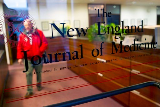 (AP Photo/Michael Dwyer). FILE - This Dec. 29, 2011 file photo shows the entrance to the editorial offices of the New England Journal of Medicine in Boston. On Wednesday, June 13, 2018, the journal retracted and republished a landmark study on the Medi...