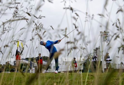 (AP Photo/Julio Cortez). Shubhankar Sharma, of India, hits off the ninth tee during a practice round for the U.S. Open Golf Championship, Wednesday, June 13, 2018, in Southampton, N.Y.