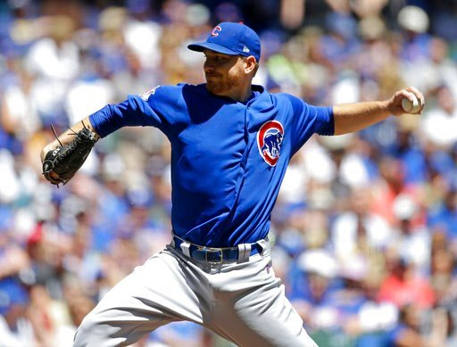 (AP Photo/Aaron Gash). Chicago Cubs' Mike Montgomery pitches during the first inning of a baseball game against the Milwaukee Brewers Wednesday, June 13, 2018, in Milwaukee.