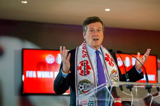 (Christopher Katsarov/The Canadian Press via AP). Toronto mayor John Tory discusses the successful joint North American bid by Canada, the U.S. and Mexico to host the 2026 World Cup at a press conference in Toronto on Wednesday, June 13, 2018.