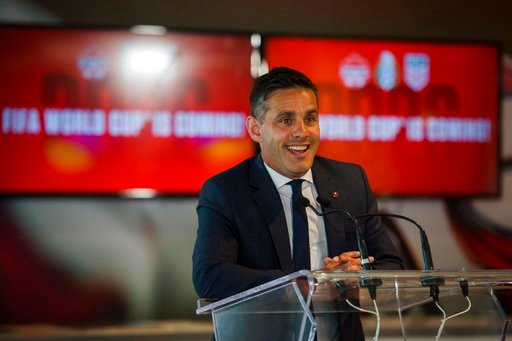 (Christopher Katsarov/The Canadian Press via AP). Canadian national team head coach John Herdman discusses the successful joint North American bid by Canada, the U.S. and Mexico to host the 2026 World Cup at a press conference in Toronto on Wednesday, ...