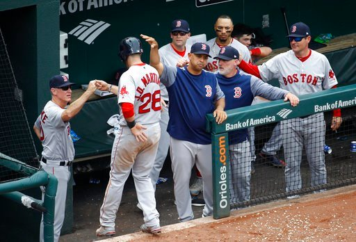(AP Photo/Patrick Semansky). Boston Red Sox's J.D. Martinez (28) fist-bumps coaches and teammates after scoring on Eduardo Nunez's single in the fifth inning of a baseball game against the Baltimore Orioles, Wednesday, June 13, 2018, in Baltimore.