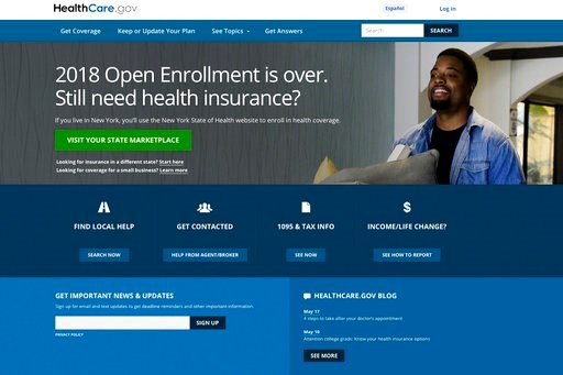 (HealthCare.gov via AP). FILE - This May 21, 2018 image shows the main page of the healthcare.gov website in Washington. On Wednesday, June 13, 2018, two independent experts said that the Trump administration appears to be taking aim at provisions of t...