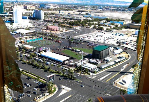 (Las Vegas Metropolitan Police Department via AP, File). FILE - This October 2017 file photo released by the Las Vegas Metropolitan Police Department Force Investigation Team Report shows the view of Las Vegas Village from Mandalay Bay's room 32-135, p...