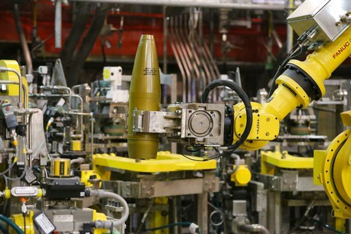 (AP Photo/Brennan Linsley, File). FILE - In this Jan. 29, 2015, file photo, a remotely controlled robot handles an inert simulated chemical munition during training at the Pueblo Chemical Depot in southern Colorado. The Army announced Wednesday, June 1...