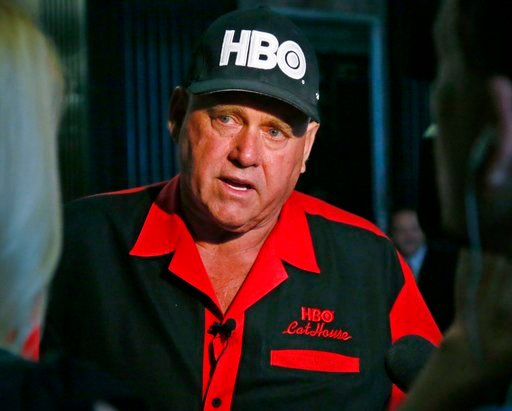 (AP Photo/Sue Ogrocki, File). FILE - In this June 13, 2016, file photo, Dennis Hof, owner of the Moonlite BunnyRanch, a legal brothel near Carson City, Nevada, is pictured during an interview in Oklahoma City.  Hof, the owner of half a dozen legal brot...
