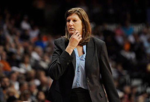 (AP Photo/Jessica Hill, File). FILE - In this July 31, 2015, file photo. Connecticut Sun coach Anne Donovan watches her players in a WNBA basketball game against the Seattle Storm  in Uncasville, Conn. Donovan, the Basketball Hall of Famer who won a na...