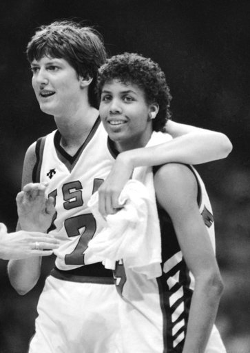 (AP Photo/Ray Stubblebine, File). FILE - In this August 1984 file photo, United States' Anne Donovan, left, and Cheryl Miller celebrating the team's victory over Canada in women's basketball at the Olympics in Los Angeles. Donovan, the Basketball Hall ...