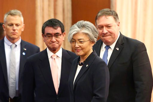 (Chung Sung-Jun/Pool Photo via AP). U.S. Secretary of State Mike Pompeo, right, attends a meeting with South Korean Foreign Minister Kang Kyung-wha, second from right, and Japanese Foreign Minister Taro Kono, second from left.