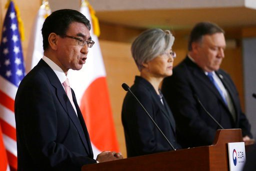 (AP Photo/Ahn Young-joon). Japanese Foreign Minister Taro Kono, left, speaks as U.S. Secretary of State Mike Pompeo, right, and South Korean Foreign Minister Kang Kyung-wha listen during a joint press conference following their meeting.
