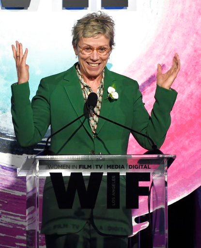 (Photo by Chris Pizzello/Invision/AP). Frances McDormand speaks at the Women In Film Crystal and Lucy Awards at the Beverly Hilton Hotel on Wednesday, June 13, 2018, in Beverly Hills, Calif.