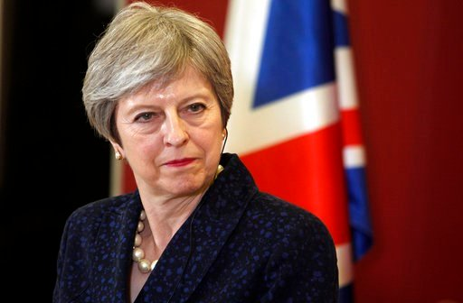 (AP Photo/Boris Grdanoski, file). FILE - In this Thursday, May 17, 2018 file photo, British Prime Minister Theresa May looks on during a news conference with her Macedonian counterpart Zoran Zaev, not pictured, following their meeting at the government...