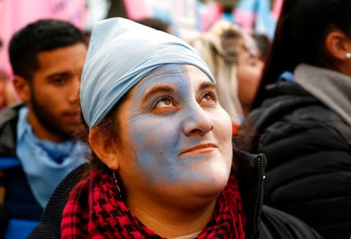 (AP Photo/Jorge Saenz). Pro-life protesters rally against a proposed law to legalize some abortion near Congress in Buenos Aires, Wednesday, June 13, 2018. Argentina's legislature has begun debating a measure that would allow elective abortions in the ...