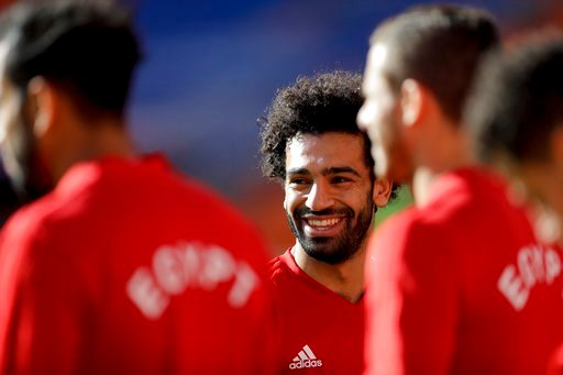 (AP Photo/Natacha Pisarenko). Egypt's Mohamed Salah smiles during Egypt's official training on the eve of the group A match between Egypt and Uruguay at the 2018 soccer World Cup in the Yekaterinburg Arena in Yekaterinburg, Russia, Thursday, June 14, 2...