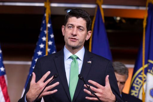 (AP Photo/J. Scott Applewhite). Speaker of the House Paul Ryan, R-Wis., takes questions from reporters following a closed-door GOP meeting on immigration, on Capitol Hill in Washington, Wednesday, June 13, 2018. Ryan says compromise legislation is in t...