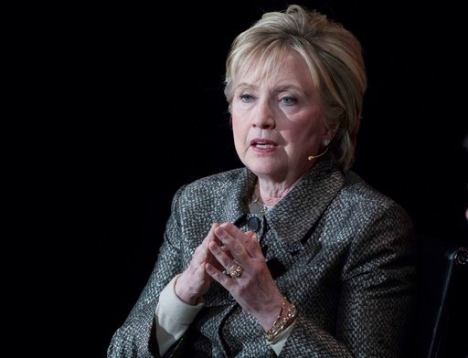 (AP Photo/Mary Altaffer, File). FILE - In this April 6, 2017, file photo, former Secretary of State Hillary Clinton speaks in New York. The Justice Department's internal watchdog is expected to criticize the FBI's handling of the Clinton email investig...