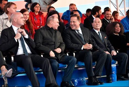 (Alexei Nikolsky, Sputnik, Kremlin Pool Photo via AP). From left: FIFA President Gianni Infantino Russian President Vladimir Putin, Panama's President Juan Carlos Varela, Kim Yong Nam, president of the Presidium of the Supreme People's Assembly of the ...