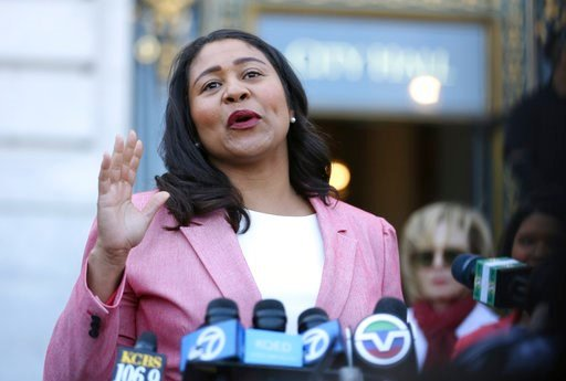 (AP Photo/Lorin Eleni Gill). London Breed speaks to reporters outside of City Hall Wednesday, June 13, 2018 in San Francisco. Breed was poised to become the first African-American woman to lead San Francisco following a hard-fought campaign when former...
