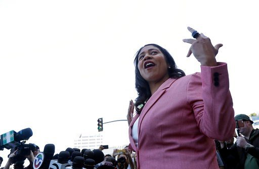 (AP Photo/Jeff Chiu). London Breed speaks to reporters outside of City Hall in San Francisco, Wednesday, June 13, 2018. Breed was poised to become the first African-American woman to lead San Francisco following a hard-fought campaign when former state...