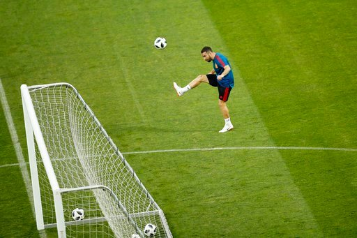 (AP Photo/Francisco Seco). Spain's Dani Carvajal shoots the ball during Spain's official training on the eve of the group B match between Portugal and Spain at the 2018 soccer World Cup in the Fisht Stadium in Sochi, Russia, Thursday, June 14, 2018.