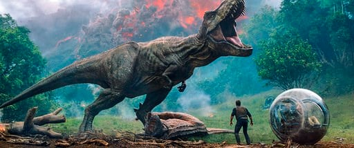 "(Universal Pictures via AP). This image released by Universal Pictures shows a scene from the upcoming ""Jurassic World: Fallen Kingdom."""