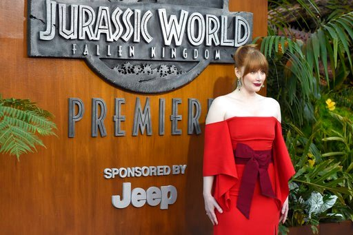 "(Photo by Chris Pizzello/Invision/AP). Bryce Dallas Howard arrives at the Los Angeles premiere of ""Jurassic World: Fallen Kingdom"" at the Walt Disney Concert Hall on Tuesday, June 12, 2018."