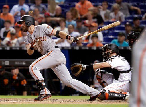 (AP Photo/Lynne Sladky). San Francisco Giants' Evan Longoria, left, watches his RBI single to score Buster Posey during the seventh inning of a baseball game against the Miami Marlins, Wednesday, June 13, 2018, in Miami. The Marlins won 5-4. At right i...