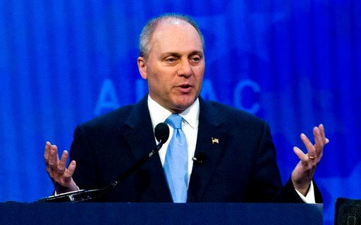(AP Photo/Jose Luis Magana, File). FILE - In this March 6, 2018, file photo, House Republican Whip Steve Scalise speaks at the 2018 American Israel Public Affairs Committee (AIPAC) policy conference in Washington. In the year since Scalise and others w...