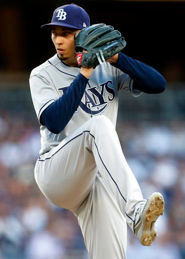 (AP Photo/Adam Hunger). Tampa Bay Rays pitcher Blake Snell delivers a pitch during the first inning of a baseball game against the New York Yankees on Thursday, June 14, 2018, in New York.