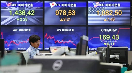(AP Photo/Ahn Young-joon). A currency trader watches monitors at the foreign exchange dealing room of the KEB Hana Bank headquarters in Seoul, South Korea, Friday, June 15, 2018. Asian stock markets were mixed Friday after Wall Street largely finished ...