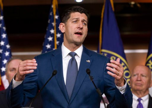 (AP Photo/J. Scott Applewhite). Speaker of the House Paul Ryan, R-Wis., joined by House Majority Whip Steve Scalise, R-La., left, and House Ways and Means Committee Chairman Kevin Brady, R-Texas, talks following a closed-door conference with fellow Rep...