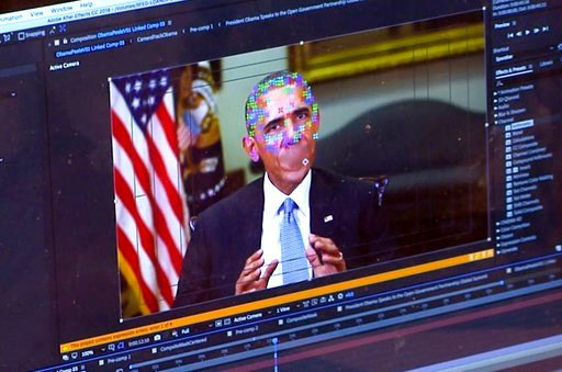 (AP Photo). This image made from video of a fake video featuring former President Barack Obama shows elements of facial mapping used in new technology that lets anyone make videos of real people appearing to say things they've never said. There is risi...