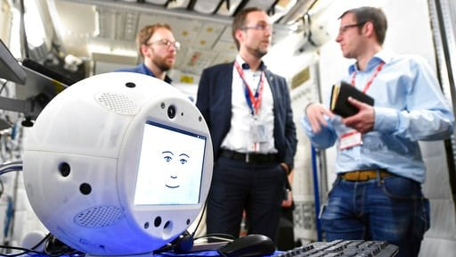 "(T. Bourry/ESA/DLR via AP). This Jan. 30, 2018 photo provided by the German Aerospace Center shows the ""Cimon"" (Crew Interactive MObile companioN) robot during a communications test at the ESA European Astronaut Center in Cologne-Porz, Germany. The rou..."