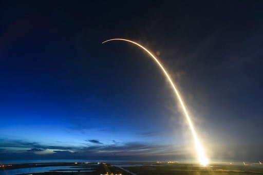 (Red Huber/Orlando Sentinel via AP). A SpaceX Falcon 9 rocket launches just before dawn Friday, June 29, 2018 at Launch Complex 40 at Cape Canaveral, Fla.   The used Falcon rocket blasted off before dawn, hauling nearly 6,000 pounds (2,700 kilograms) o...