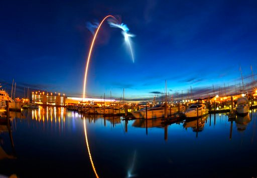 (Malcolm Denemark/Orlando Sentinel via AP). A SpaceX Falcon 9  rocket's exhaust plume is illuminated during a launch just before dawn Friday, June 29, 2018 at Launch Complex 40 at Cape Canaveral, Fla.   The used Falcon rocket blasted off before dawn, h...