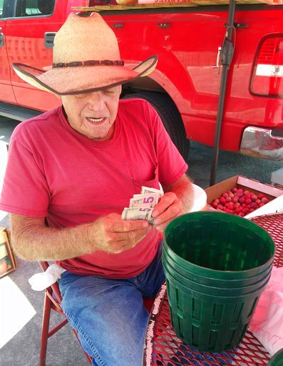 (AP Photo/Jay Reeves). Floyd Champion, 77, counts money at his roadside produce stand in Alabaster, Ala., on Tuesday, July 3, 2018. A big fan of President Donald Trump, Champion said he plans to spend July 4 selling watermelons, tomatoes and other prod...