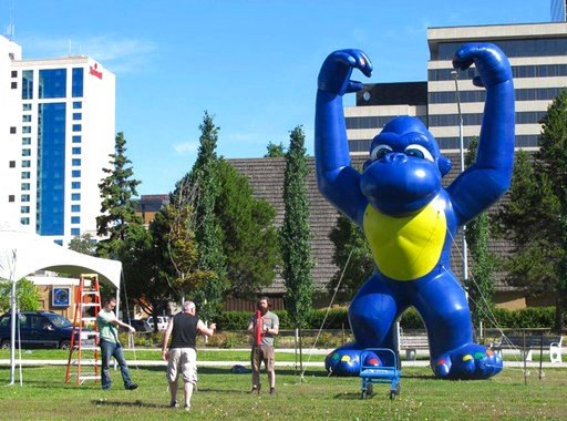 (AP Photo/Rachel D'Oro). Workers test an inflatable monkey Tuesday, July 3, 2018, for Wednesday's upcoming July 4th celebration at the downtown, Anchorage, Alaska, park strip. The popular annual event draws thousands each year.